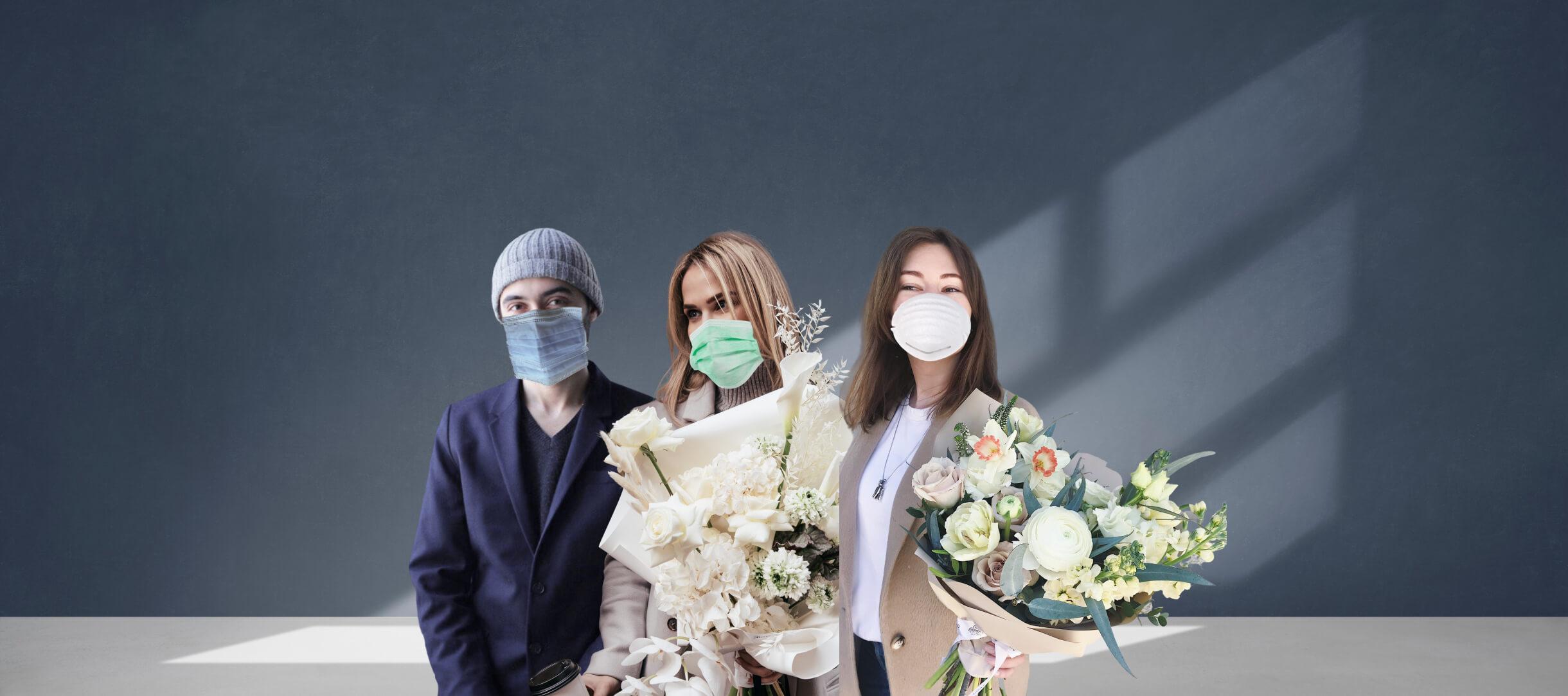Три героя статьи в медицинских масках